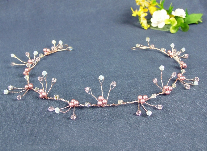 Swarovski White Opal, pink crystal and pearl hair vine