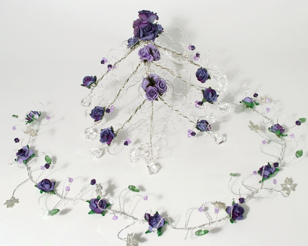Matching cascading bridal crystal bouquet with matching wedding hair vine