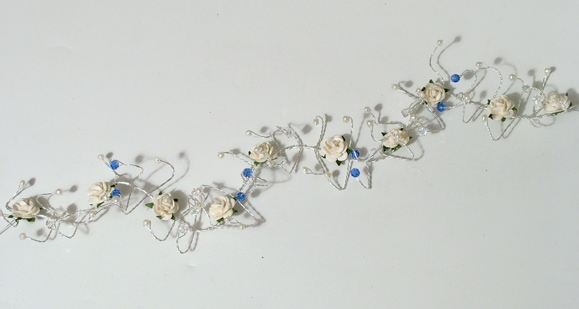 Bridal or prom hair vine with freshwater pearls, roses and cornflower blue crystals