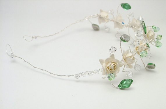 Silver hair vine with ivory roses and Swarovski crystals. Atten Jo
