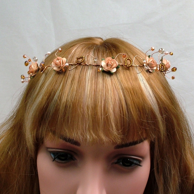 Long peach rose hair vine on gold wire
