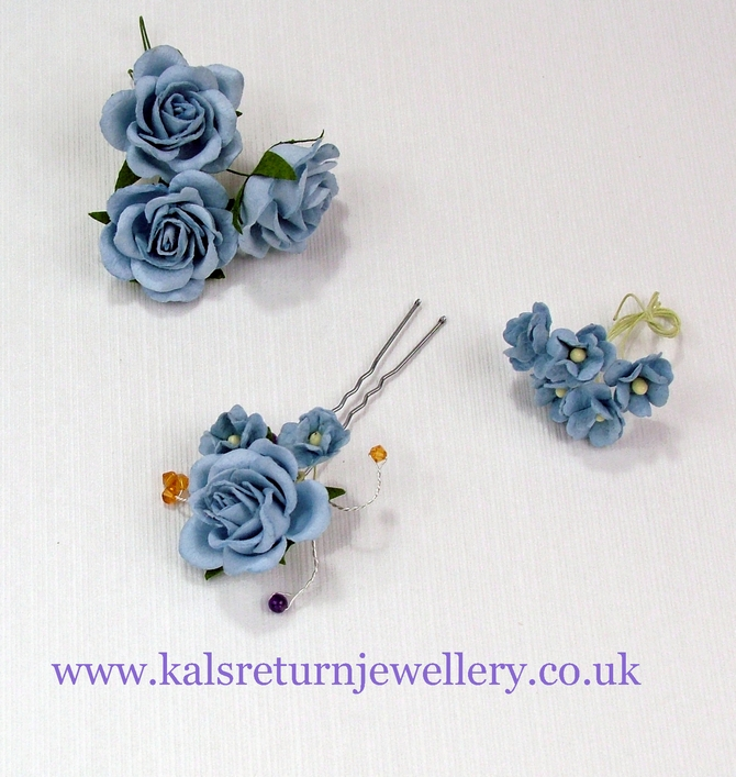 Blue flower bridal hair grip with Topaz Swarovski crystals