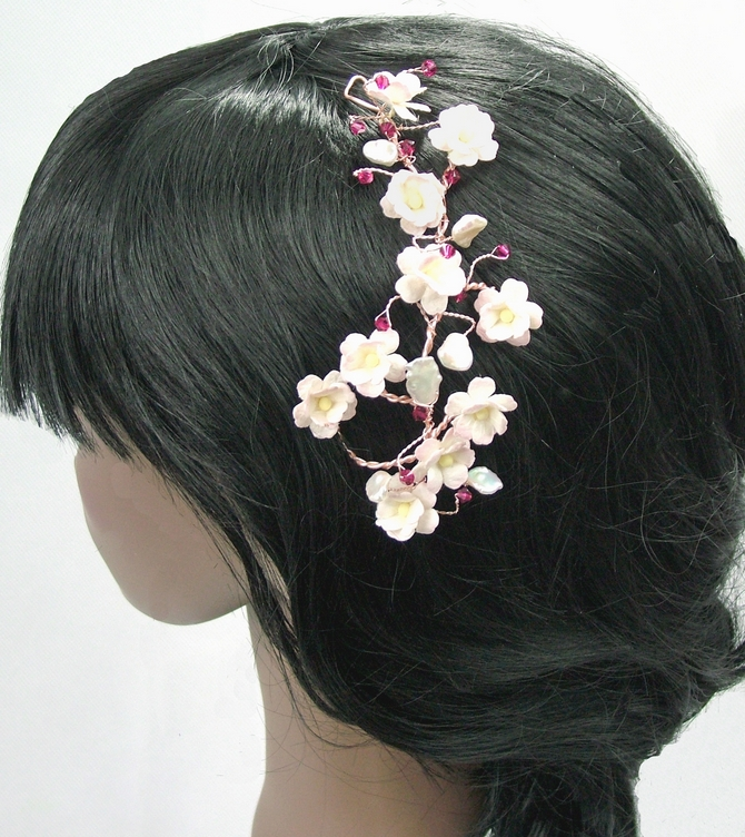 Bridal hair vine on rose gold wire with pink flowers, pearls and ruby red crystals