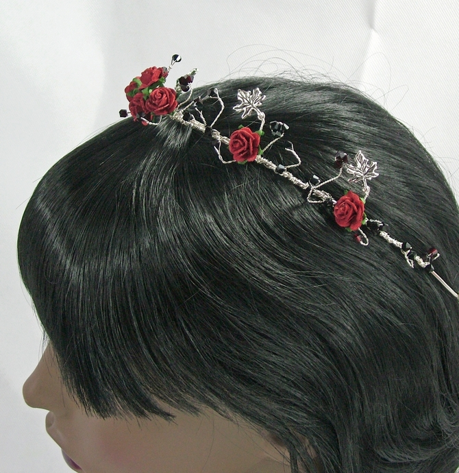 Tiara, Goth wedding, red and black flowers and Swarovski crystals