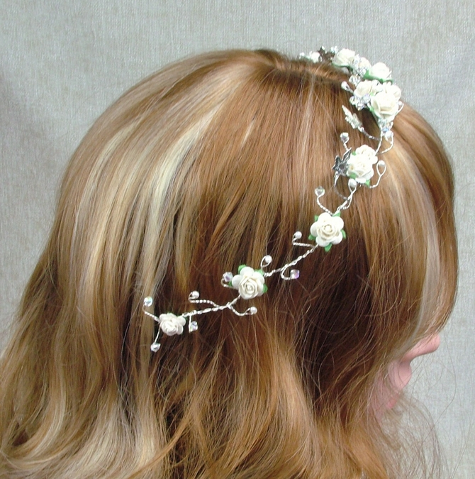 Ivory rose hair vine with silver ivy leaves and sparkly Swarovski crystals