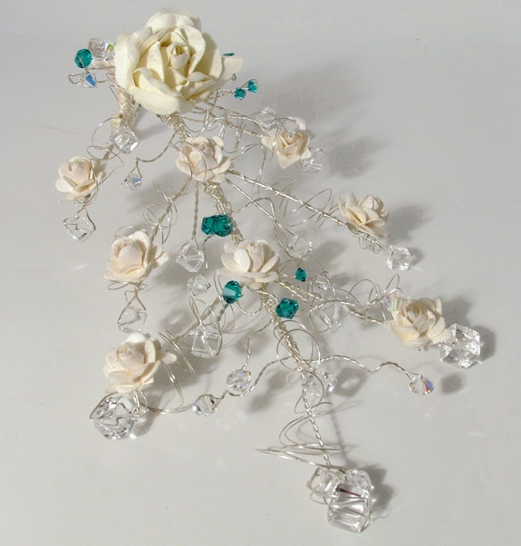 Bridal, bridesmaid's cascading Crystal Bouquet with cream roses and Swarovski crystals