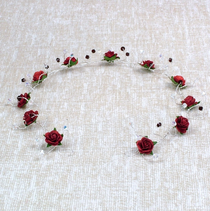 Red rose hair vine with garnet and sparkly Swarovski crystals on silver wire