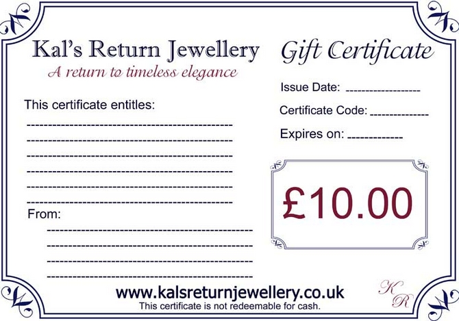 Jewellery Gift voucher GBP10.00