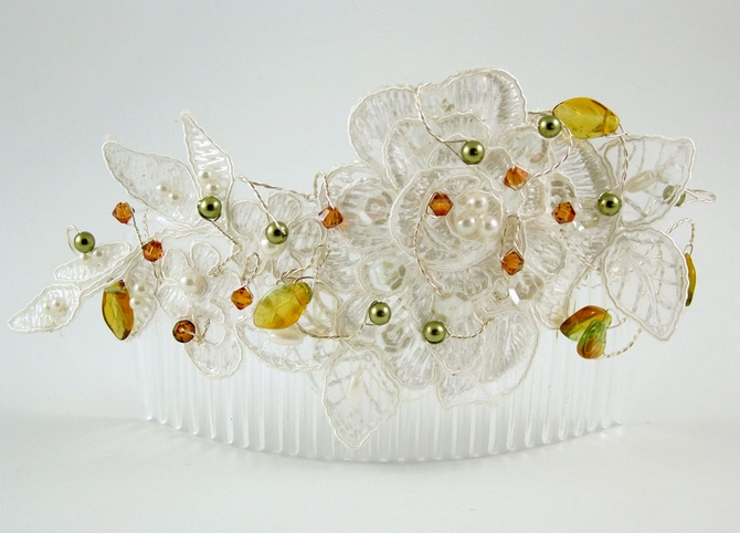 Vintage wedding white lace bridal decorative large hair comb, hair accessory with Swarovski topaz crystals and green pearls, yellow leaves