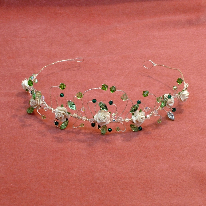 Tiara with green Swarovski crystals