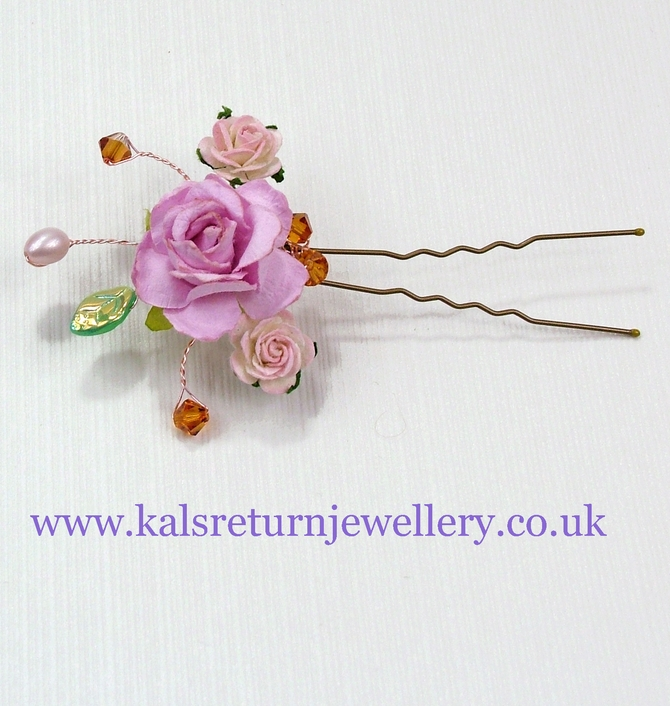 Boho pink flower bridal hair grip with Topaz crystals and freshwater pearls