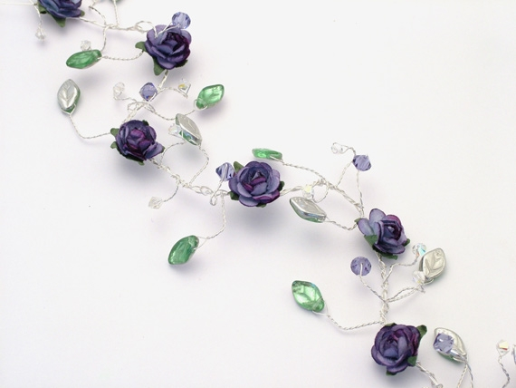 Hair vines and hair pins with purple flowers, leaves and Swarovski crystals