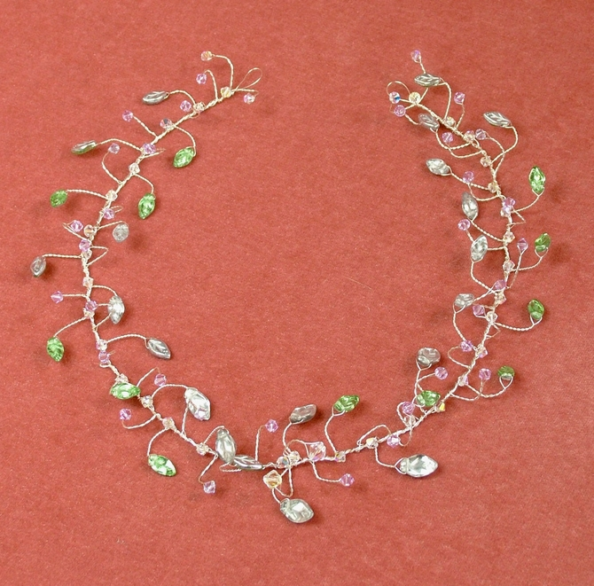Silver leaf hair vine with lilac Swarovski crystals