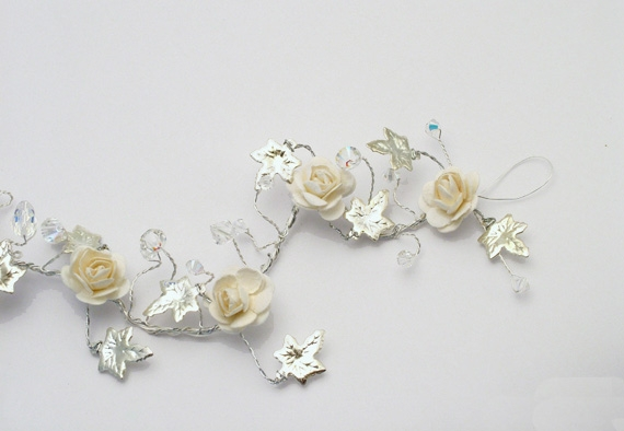 Winter wedding hair vine with silver ivy leaves, ivory roses and sparkling Swarovski crystals