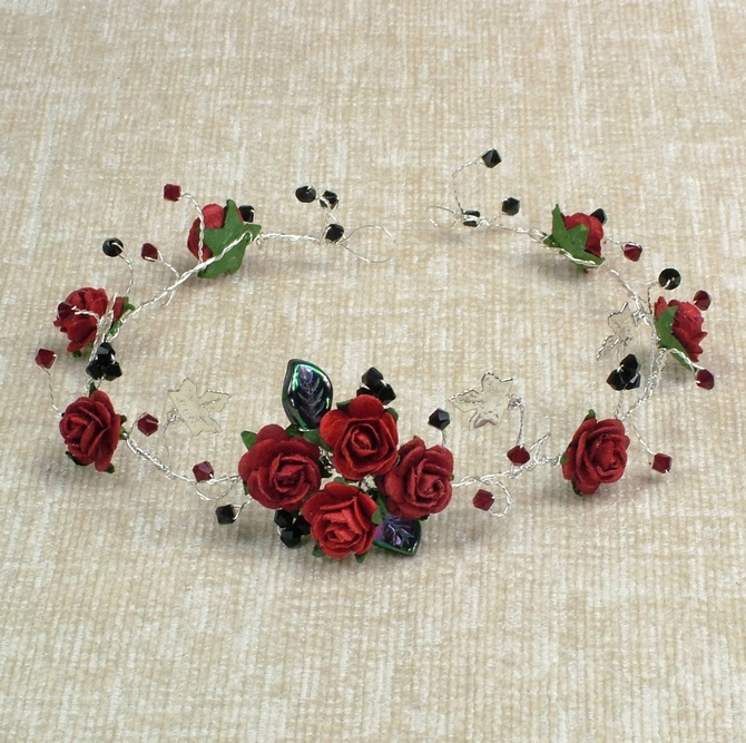 Goth style hair vine with red roses plus black and sian red Swarovski crystals