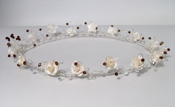 Ivory and burgundy circlet