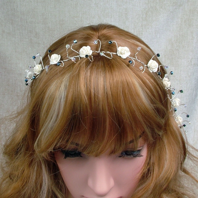 Long ivory rose hair vine with metalic blue Swarovski crystals