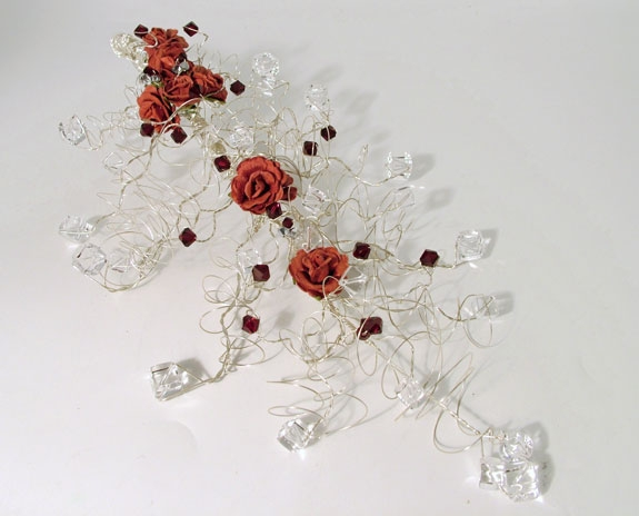 Bride's wedding Crystal Bouquet with burgundy roses, Rock Crystal and swarovski crystals