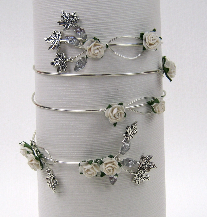 Upper arm cuff silver, ivory roses, leaves. Coordinating colours available