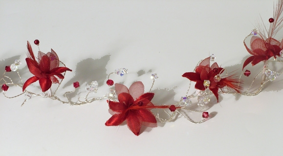 Red silk and feather flower hair vine with siam red and sparkly Swarovski crystals