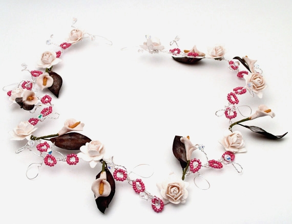 Handmade bridal hair vine with lilies, ivory roses, sparkly Swarovski crystals and tiny cerise pink beads.