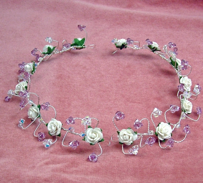 Ivory rose and lilac crystal back of head bridal hair vines.