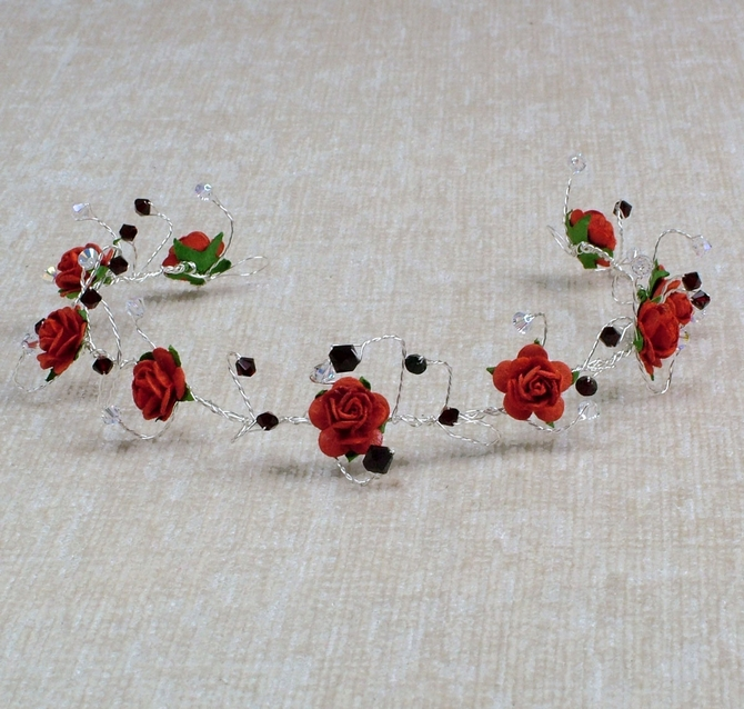 Red rose hair vine on silver wire