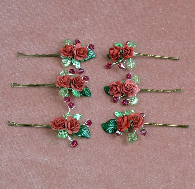 Bridesmaids, Prom hair grips with Ruby Red Swarovski crystals