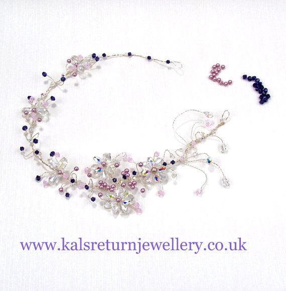 Statement bridal hair vine with Swarovski crystals and pearls