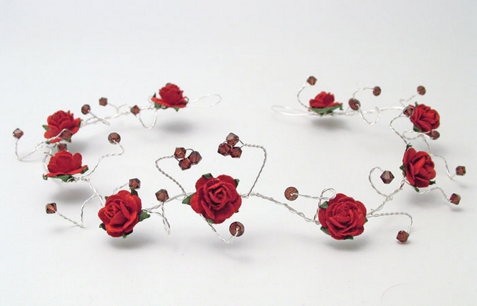 Christmas or winter wedding bridal hair vine with red roses and burgundy crystals