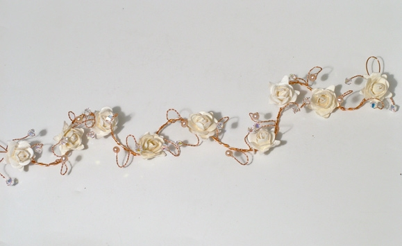 Ivory rose hair vine on gold wire with freshwater pearls and sparkly Swarovski crystals.