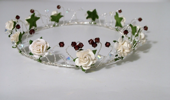 Rose circlet with burgundy Swarovski crystals
