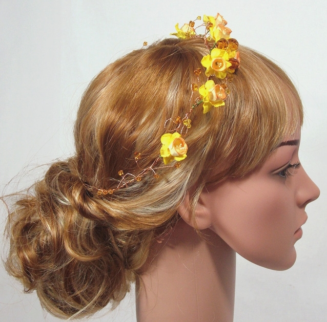 Yellow Daffodil flower hair vine with topaz Swarovski crystals on gold wire