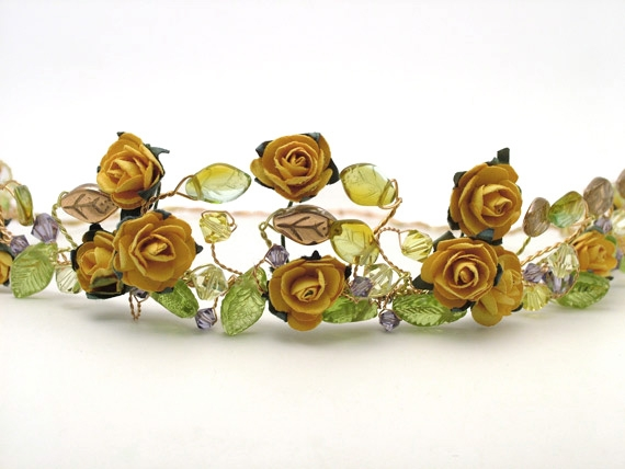Medieval, woodland wedding headband in gold, orange and yellow colour scheme.