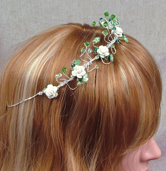 Emerald green crystal and leaf tiara with ivory roses on silver wire
