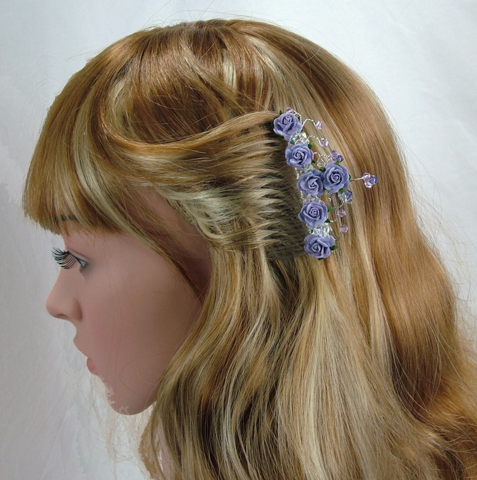Lilac rose hair comb with violet and purple Swarovski crystals