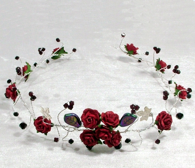 Red rose hair vine with black and garnet crystals