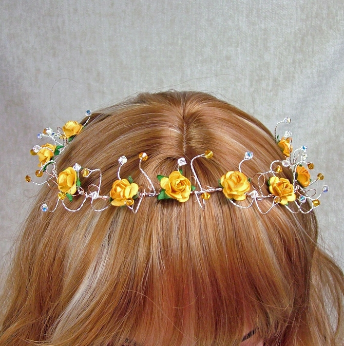 Orange yellow rose hair vine with topaz Swarovski crystals