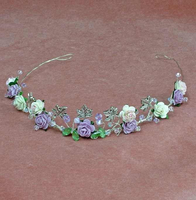 Lilac and pink rose tiara