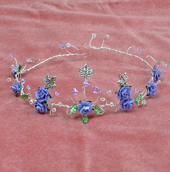 Lilac rose tiara with lilac crystals