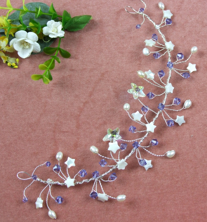 Swarovski starfish wedding vine with stars, pearls and crystals