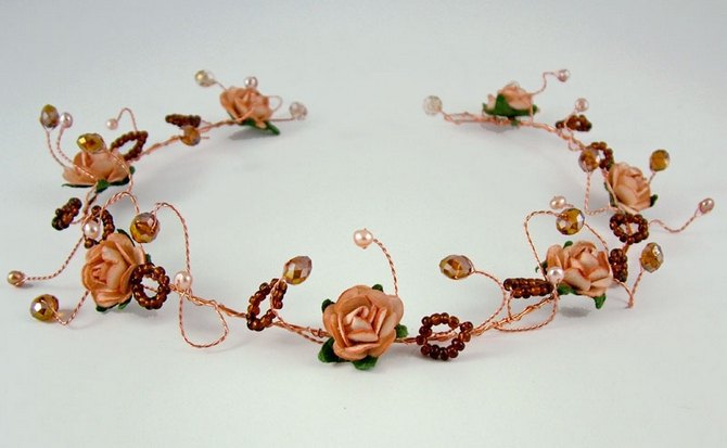 Peach rose hair vine