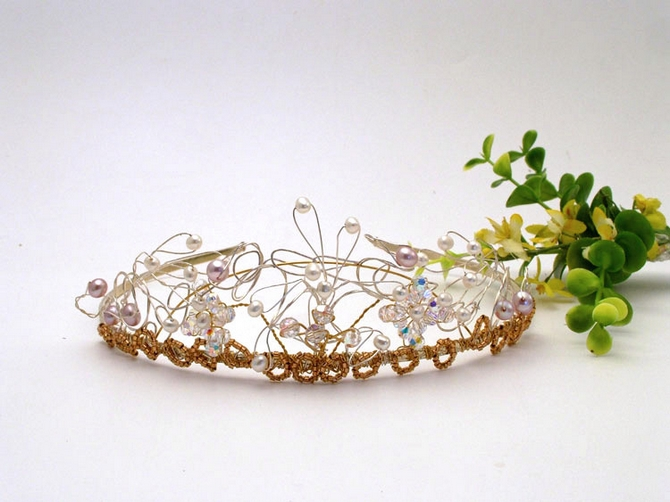 Vintage style wedding gold and silver bridal tiara with ivory freshwater pearls, round Swarovski crystals and tiny gold beads.