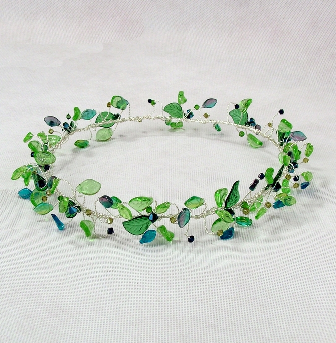 Green leaf and blue crystal headband