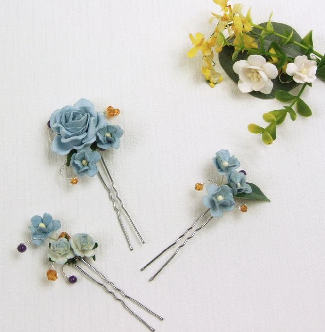 Blue flower wedding hair grips