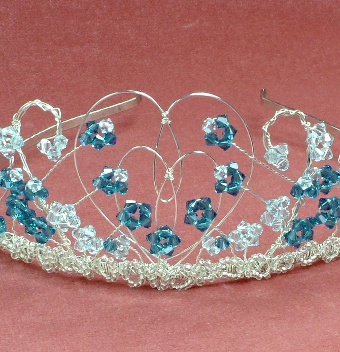 Silver heart shape tiara with Indicolite blue and light Azzure Swarovski crystals