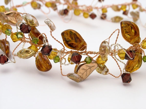 Medieval, woodland wedding hair vine, headband in copper and silver with topaz leaves