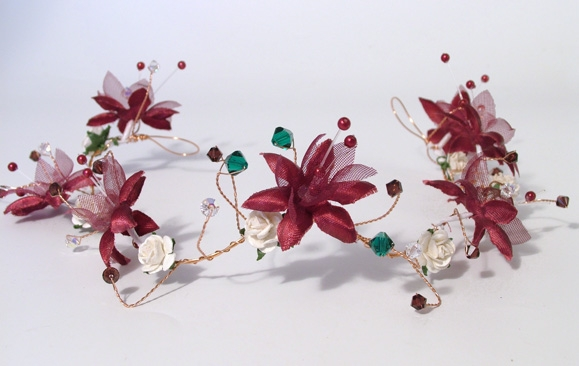 Christmas winter wedding bridal hair vine with burgundy silk flowers and ivory roses
