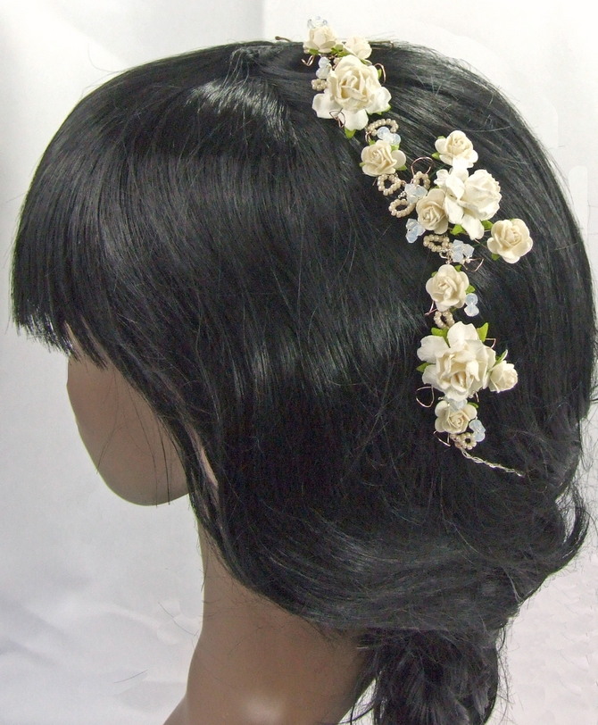 White rose First Communion hair vine