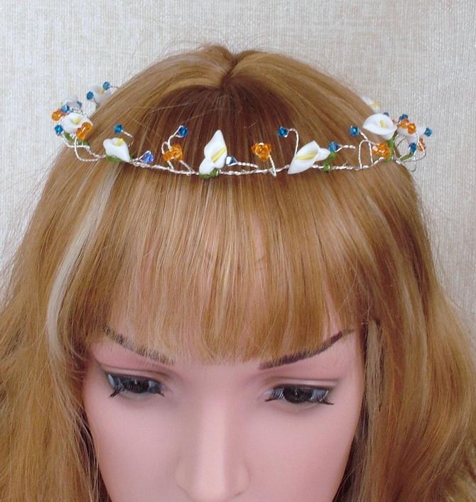 Tangarine orange and Capri blue hair vine with lilies